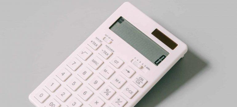 A calculator on a table.